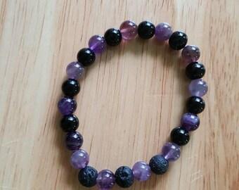 Amethyst Bracelet, Diffuser Bracelet, Beaded Bracelet, Stretchy Bracelet, Quartz Jewelry, Essential Oil Bracelet, Aromatherapy Jewelry