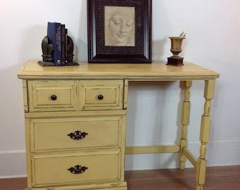 Petite Mustard Yellow Writing Desk with Storage