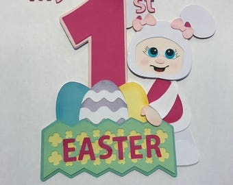 Baby's First Easter  girl bunny with basket premade paper piecing   DIE CUT