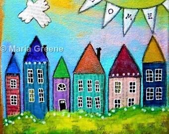 Home, art, mixed media art, whimsical art, houses, village