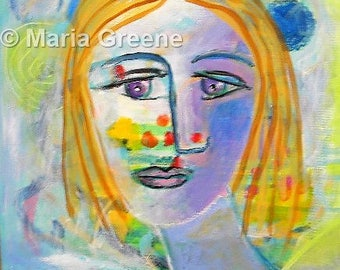 """Original painting, art, abstract portrait, colorful, acrylic painting, 12x12"""""""