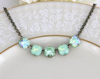 Swarovski Crystal necklace, Bridal jewelry, Mint Green necklace, Bridesmaid necklace, Green opal necklace, Bridal Vintage style necklace,