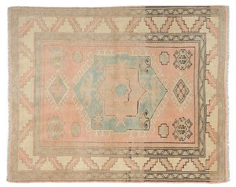 "5'2""x6'6'' Vintage Turkish Rug, geometric design Rug,  Pink Blue and beige Rug, Turkish Rugs, squarish faded rustic good condition area rugs"