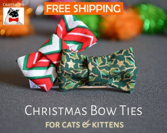 Christmas cat collar & bow tie gift set - breakaway cat collar - kitten collar - Christmas eve box fillers - fancy cat bow tie