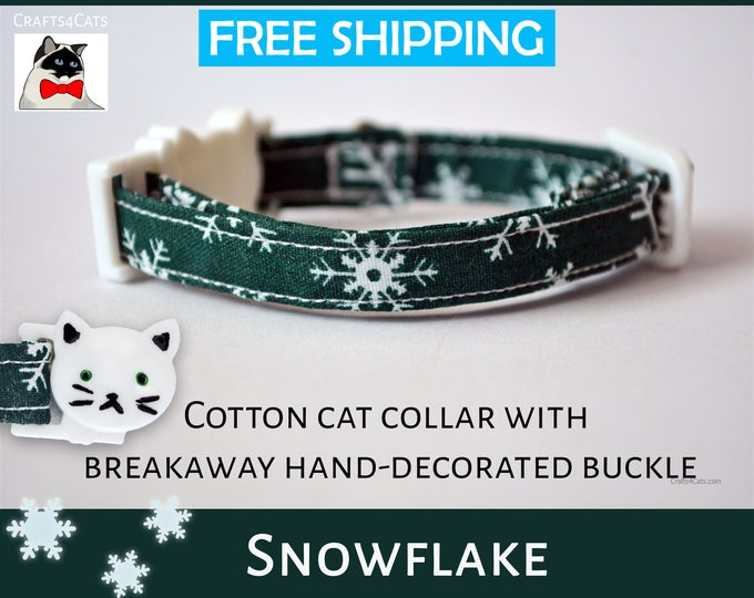Featured listing image: Christmas cat collar Snowflake Christmas kitten collar - green cat collar - breakaway cat collar - cat collar with bell - Christmas kitten
