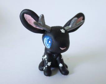 Constellation Galaxy Jackalope Figurine - Tiny Polymer Clay Starry Bunny Rabbit Terrarium Figure - Black & White Miniature Kawaii Animal