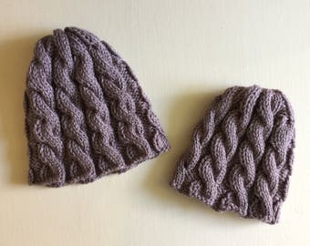 Grey adult and child knitted hat set, gender neutral matching hats, cable knit hat set