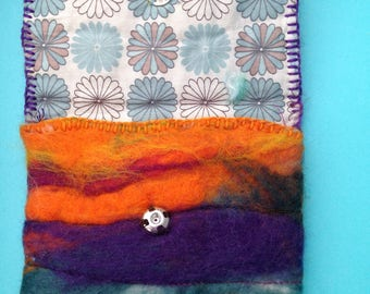 hand felted, fully lined purse.