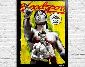 Jean Claude Van Damme from Bloodsport movie. Pop-Art Original Framed Fine Art Painting, Image on Canvas, Artwork, Movie Poster, martial arts