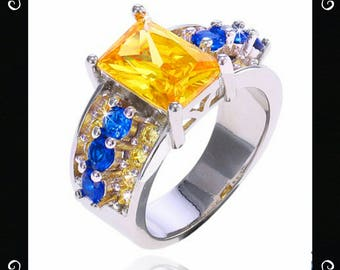 Sterling Silver Yellow Citrine CZ Ring Size 9