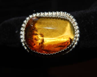 Summer Sale! Unique Custom Amber Double-Shank Beaded and Scalloped Bezel Ring Size 7