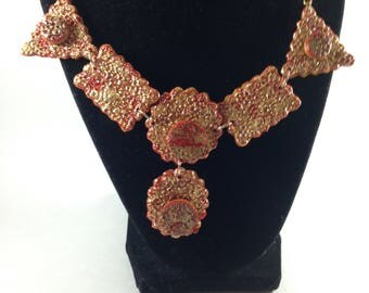 Red and Gold Necklace and Earrings set