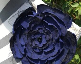 Navy Netted ~ flower pin