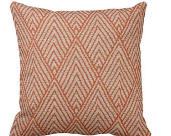 Decorative Throw Pillow Covers -Orange and White Pillow - Tangerine Accent Pillow - Orange Pillow Cover - Tahitian Stitch - Tangerine Pillow