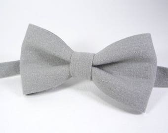 Grey Linen bow tie, Bow ties for men, Bow ties for boys, Bow tie for groomsmen, boys bow tie, toddler bow tie.