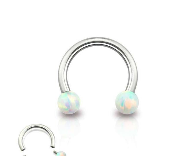316L Surgical Steel Internally Threaded Horseshoe with Synthetic Opal