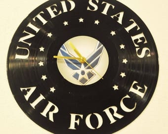 Airforce inspired vinyl record clock **FREE SHIPPING**