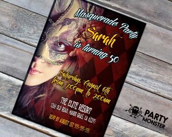 Masquerade Party Invitation, Masquerade birthday party, Mardi Gras party, Mardi Gras Invitation, Masquerade Ball