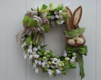 Easter Bunny Wreath, Tulip Wreath, Spring Wreath, Green and White Tulips, Bunny Wreath, Spring Tulip Wreath
