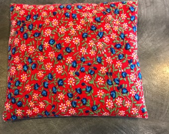 Empty fabric pouch or sachet cover red with tiny flowers