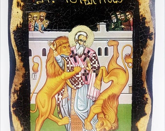 Saint Ignatius of Antioch Handmade Wood Icon on plaque with physical aging and Golden Leaf 24K