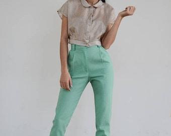 30% OFF High Waisted Pants / Vintage Pants/ Mint Pants/ High Waist Trousers/ Vintage Trousers / High Waist Pants/High waisted  trousers/ Lin