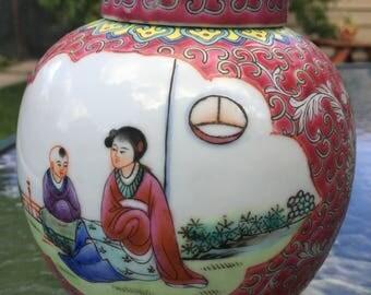Vintage Chinese Enamel Porcelain Ginger Jar
