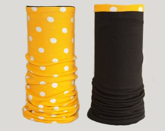 Contact arm warmers Black Yellow Cotton Jersey points rockabilly polka dots