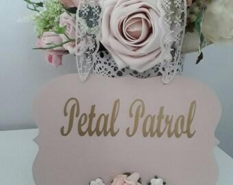 Flowergirl wedding sign, flower girl sign, petal patrol sign, bridal party, flowergirl sign, gold and blush wedding