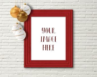 Christmas frame mockup, product mockup, poster mockup, Christmas, digital frame, 8 x 10, digital mockup, decorations, red frame, DOWNLOAD