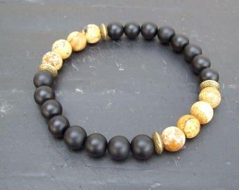 Mens bracelet - Gemstone bracelet - Onyx and Jasper man's beaded bracelet - Mixed gemstone beads bracelet - gift for him - Onyx bracelet