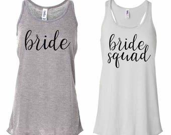 Bride Squad #2 Flowy Racerback Tank, Bride Squad Shirts, Bridesmaid shirts, Bachelorette Party shirts, Bride Shirt