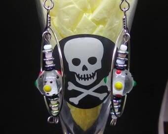 Funky Clear Glass dangle hoop earrings