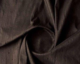 Free Shipping Black Dupion Silk Fabric-4851