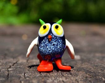 Blue glass owl figurine animals glass owl birds sculpture art glass owl toy murano owls animals ornaments owls toys figure gifts
