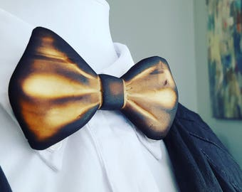 Torched Wooden Bow Tie