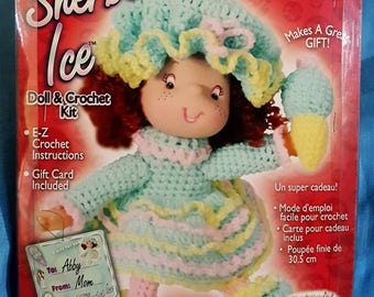 """2003 Fibre Craft Sherbet Ice Doll Head, Hands and Directions Crochet Kit 12"""" Doll NOS"""