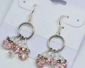 Light pink cluster earrings