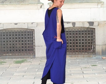 Pinafore Blue Ankle Length Dresses
