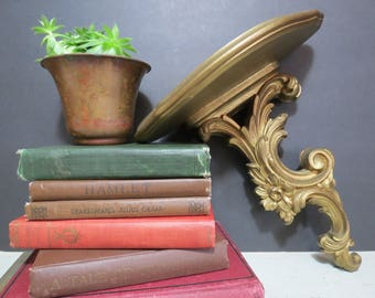 Vintage Syroco Gold Wall Sconce Shelf in the Hollywood Regency Style