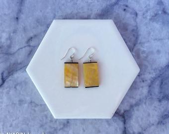 Gold x Black Modern Tile Pearl Earrings