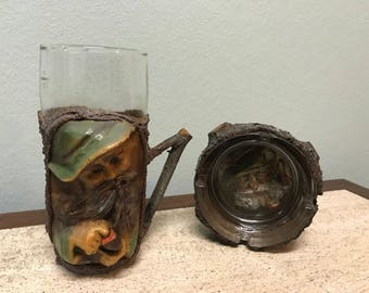 Unique Vintage Pipe Smoking Ceramic and Wood Ashtray and Glass Mug