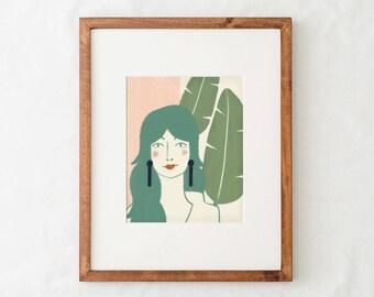 Portrait Art Print - Pink