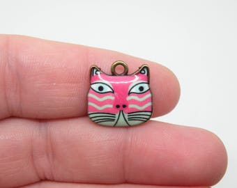 4  Bronze and Pink with a green mouth Enamel Cat Charms. B-025
