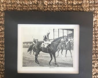 amazing original b/w photo from 1932 - jockey w/ horse