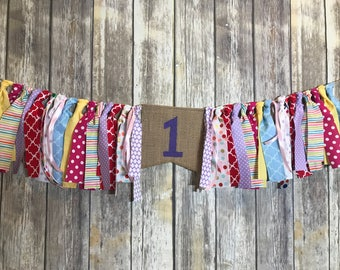 Multicolor Birthday banner, Colorful first Birthday, 1st Birthday Girl, Multicolor High Chair Banner, Birthday Girl, High Chair Banner Girl