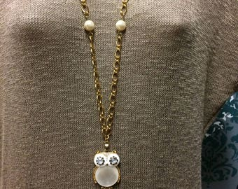 Gold chain Owl Pendant, Owl necklace, Long owl chain, long statement necklace