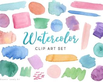 Watercolor Swash Clipart - Watercolor Clip Art - Hand Painted Watercolor Splash - Paint Splash Clip Art