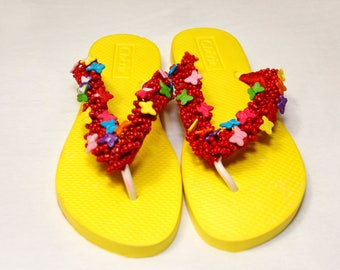 Beautiful Hand Beaded Yellow & Red Flip Flop/Slippers