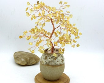 Natural Citrine Tree Yellow Gemstone Wire Tree Sculpture Life of Tree Ornament Lucky Tree Bonsai Tree Energy Healing Reiki Meditation Decor